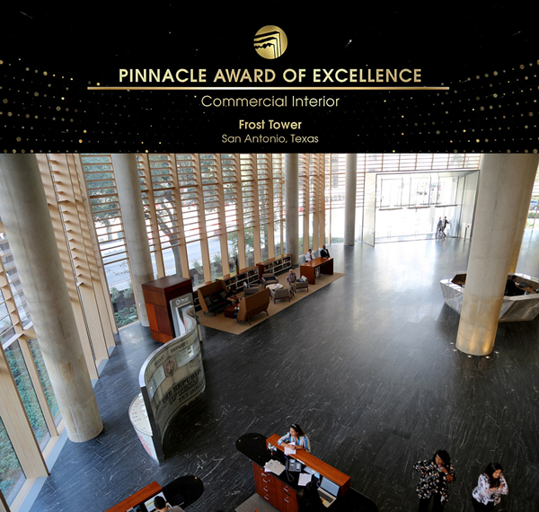 2019 Natural Stone Institute Pinnacle Award of Excellence - Frost Tower (commercial interior)